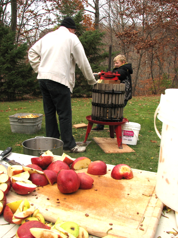 Crank some pressure on the apples and make them release their juice...